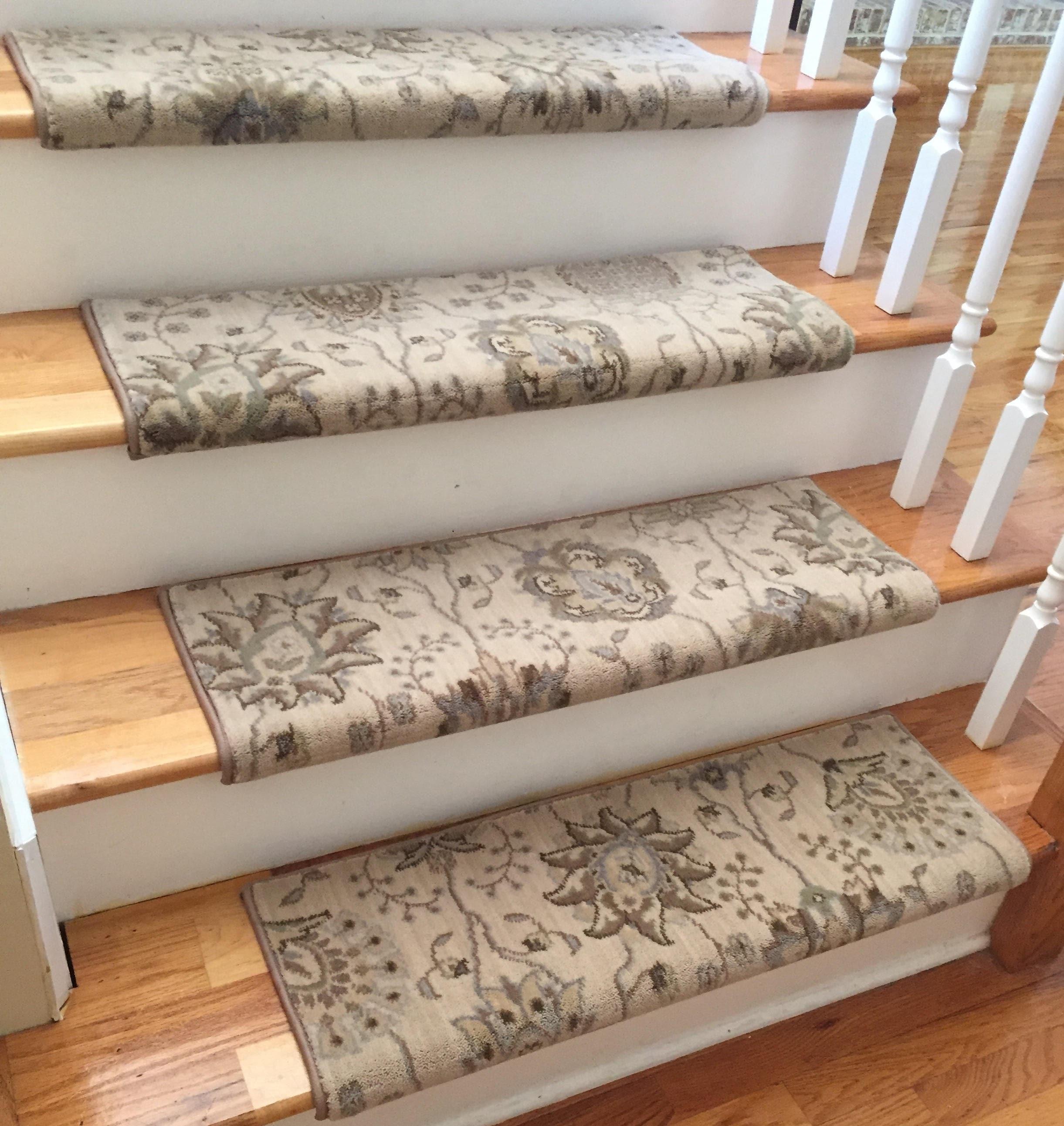 Authentic Wool Satin Creamtrue Bullnose Carpet Stair Tread