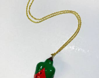 Vintage 1980s strawberry necklace pendant