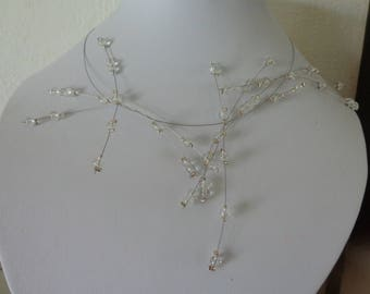 Bridal rhinestone crystal wedding bridal piece unique beads necklace