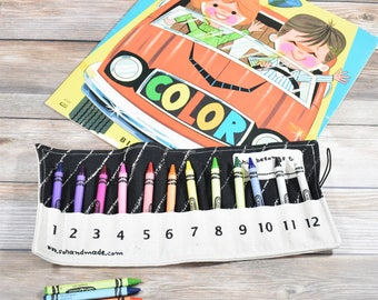 Travel Toy, Crayon Gift, Kids Travel Gift, Crayon Storage, travel game, kids coloring, kids art supplies, first birthday gift, on the go
