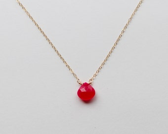 """Hot Pink Chalcedony Necklace, 16"""" 14k Gold Chain"""