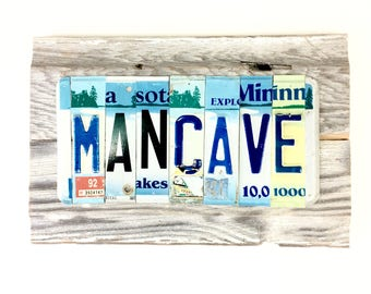 Mancave Sign - Minnesota License Plate Sign - Reclaimed Wood Sign - Reclaimed Metal Sign,Bar Sign,Man Cave Sign,Mancave Decor,Car Guy Gift