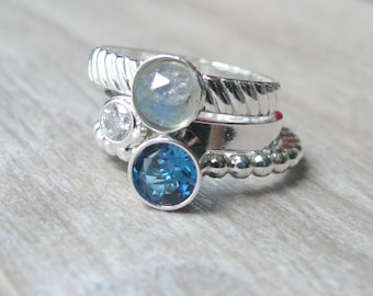 Sterling silver stacking ring set / Mothers ring / Sterling silver ring / cubic zirconia rings / 3 birthstone rings silver labradorite ring