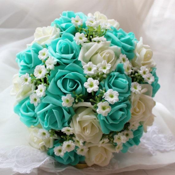 Turquoise Wedding Bouquet Turquoise Flowers Bridal Bouquet