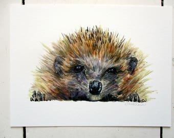 Hedgehog painting, hedgehog lover gift, hedgehog art print, wildlife giclee print, gift for mum, woodland art print, nursery hedgehog print