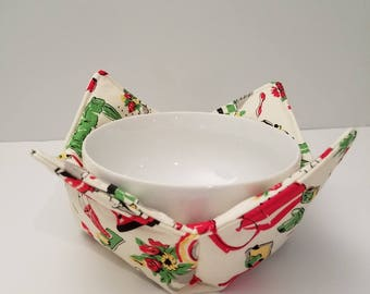 Retro microwave bowl cozy, 1950's kitchen appliances, bowl holder, hot or cold, all cotton