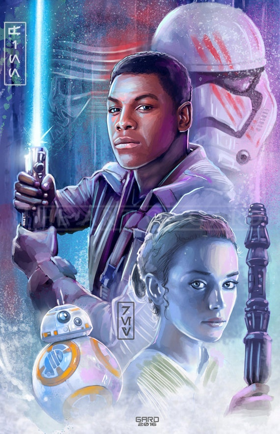 Finn, Rey and BB8 (collage) 11X17 Artist's Print