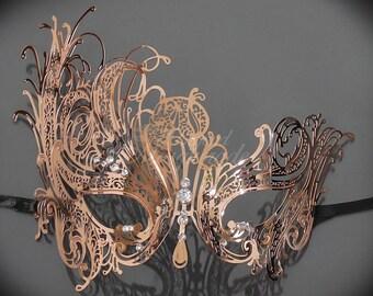 Masquerade Mask, Rose Gold Mask, Mardi Gras Mask, Mask, Rose Gold Masquerade Mask, Rose Gold, Masquerade Ball Mask, Mask with Rhinestones