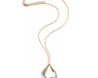 Marbled Marble Porcelain Necklace - Crescent Moon - Modern Goddess Moon Necklace - Porcelain and Stone - Porcelain Jewelry - Sensitive Skin