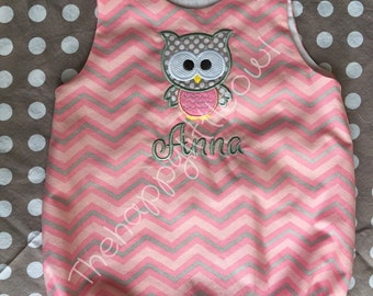 Pink and grey chevron summer bubble with owl appliqué polka dots