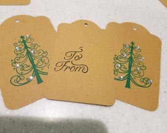 Bling Christmas Tree Gift Tag