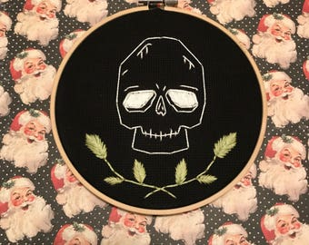 Cute Skull and Foilage Embroidery Hoop Art