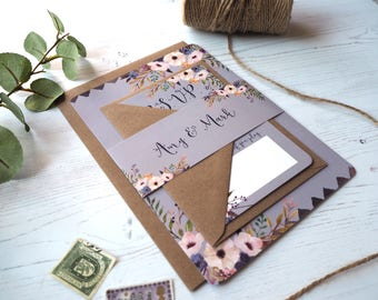 Rustic Purple Bloom Wedding Invitation with matching RSVP - SAMPLE