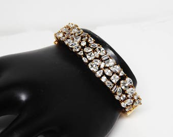 Rhinestone Encrusted Hinged Bangle Bracelet - Clear Rhinestones in Gold Tone Setting - Vintage 1980's 1990's Retro Design