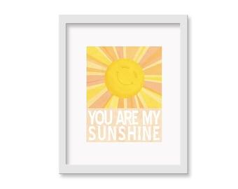 "You Are My Sunshine Children's Decor Wall Art Print - 11"" x 14""  - Nursery Room Decor"