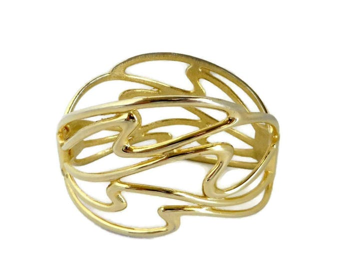 Vintage Abstract Clamper Bracelet, Gold Tone Hinged Cuff Modernist Design, Unique Gift For Her