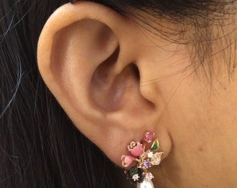 Handcrafted 925 Sterling Silver Stud Earring set with Multicolour CZ & MOP