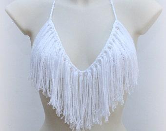 Sexy fringe top bra, beach lovers, summer fest, cotton beach white top, show girl life, boho chick halter top, hippie girl, yoga wear