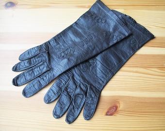 60's Aris Black Leather Leaf Applique Wrist Length Gloves, Size Small, 6.5