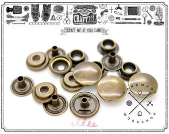 50 Pack Multi-Size Antique Brass Snap Fasteners Ring-Socket Press Studs Jacket Bag Canvas Closures