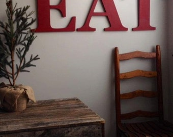 Farmhouse kitchen decor 14  wood. Slightly distressed. Set of 3 letters. Old Barn Red. Vintage Red Yellow Kitchen wall art decor & Wooden Cut out Words Monograms Wedding by ASimplePlaceOnMain