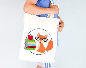 Smart Fox Personalised Boys Library Tote Bag