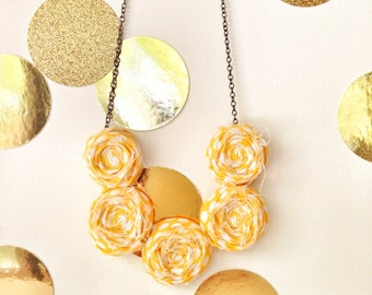 Golden Poppy Rosette Necklace