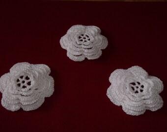 3 Crochet Flowers - 5 Layers - Wedding/Applique/Embellishments