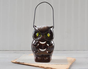 Vintage Ceramic Owl Lantern Tea Light Candle Holder - Brown with Marble Eyes Retro Decor