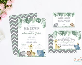 Jungle Baby Shower Invitation Set, Gender Neutral Baby Shower