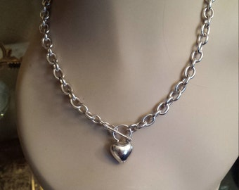 Sterling silver vintage heart necklace