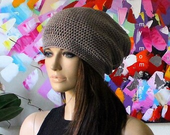 Crochet Cap Cotton grey/beige