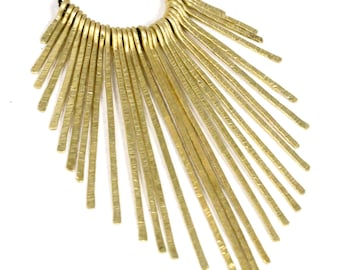 Gold Bib Necklace Hammered Brass Fringe Necklace Spike Necklace