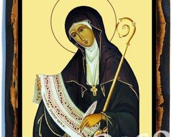 Saint Hildegard of Bingen Doctor of the Church, Sibyl of the Rhine Roman Catholic Christian IHandmade wood icon on plaque
