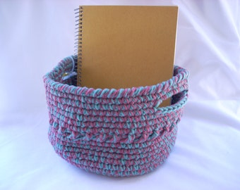 Crochet Basket Small, Pink and Green Basket, Girl's Crochet Basket, Entryway Catch All, Desk Organizer, Playroom Toy Bin, Coffee Table Decor