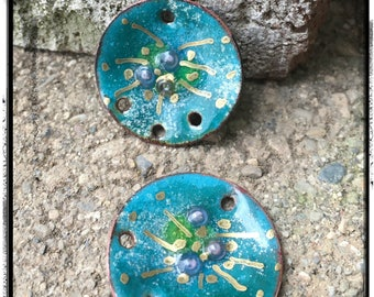 Blue Green Torch Fired Enamel Charms