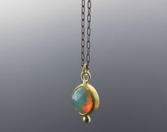 Gold Opal Pendant Necklace - Rose Cut Ethiopian Welo Opal - Bezel Set - Reclaimed Gold - One of a Kind