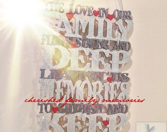 The Love in this Family hanging plaque, family , wall art, love wall art, family wall plaque , love family ,