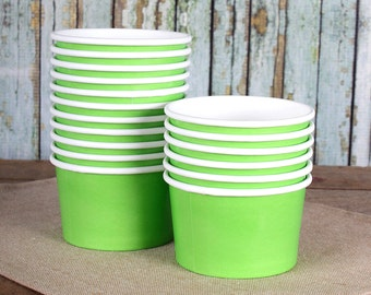 Small Lime Green Ice Cream Cups, Lime Green Ice Cream Bowls, Sundae Cups, Ice Cream Party Cups, Dessert Cups, 4oz Paper Ice Cream Cups (18)