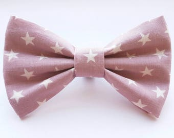 Pink and white star print dog collar bow tie