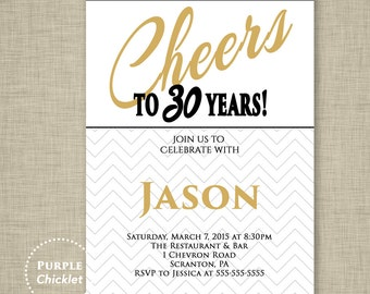 Cheers to 30 years Invitation Men's 40th 50th 60th 30th Birthday Invitation Any Age Masculine White Gold Adult Party Invite Printable 266