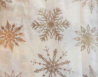 Textile Creations Beige snowflake Gold Overprint Fabric (1 yd cut)