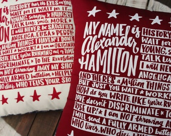 Alexander Hamilton Pillow | Hamilton Broadway musical lyrics | Hand Screen-Printed Pillow Covers | Great gift for musical theater fans