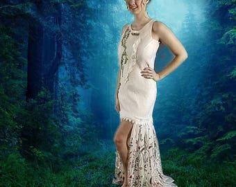 Woodland Fairy Dress in Cream Silk with Multi Color Floral Skirt. Adult Fairy Costume. Nuno Felted Alternative Wedding Dress. Boho Bridal.