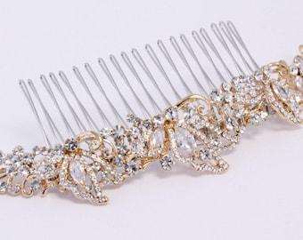 Wedding Hair Comb,Gold Lead Hair Piece,Bridal Hair Pin,Gold Hair Accessory,Wedding Hair Accessory,Beaded Hair Comb,Bridal Headpiece,Crystal