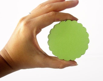 32 Scalloped Circles (2.5 inches) Textured Cardstock Die Cut, Scalloped Circle Die Cuts  A117