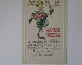 Valentine's Day Vintage Post Card - Valentine Greeting - I'm Searching for a Valentine - Used - 1910
