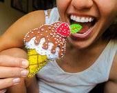 Ice Cream Pin Accessory, Ice Cream Brooch, Ice Cream Felt Brooch, Sweet Gift For Girl, Sweet Jewelry ,Icecream, Handmade, Art, Strawberry