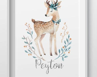 Personalized woodland animal deer foil print