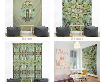 Belle Epoque Hanging Wall Tapestry. Home, Dorm Decor, Headboard Tapestry, Art Deco, Mint Green, Decorative Tapestry, Steampunk, Abstract